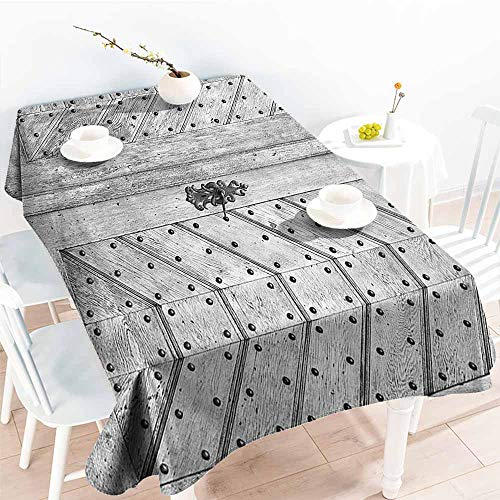 Homrkey Waterproof Tablecloth Rustic Decor Collection Old Door Exit Brads Nailed Penal Old Fashioned Culture Middle Ages Artwork Print Wooden Gray Washable Tablecloth W70 xL102 -