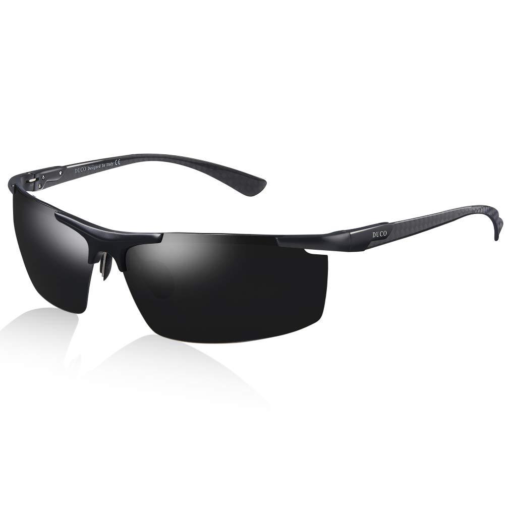 DUCO Men's Sports Carbon Fiber Temple Polarized Sunglasses 100% UV Protection Sunglasses for Men 8207 (Black) by DUCO