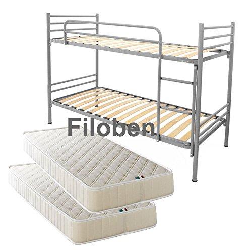 Filoben Stockbett mit Lattenrost und Matratzen silber