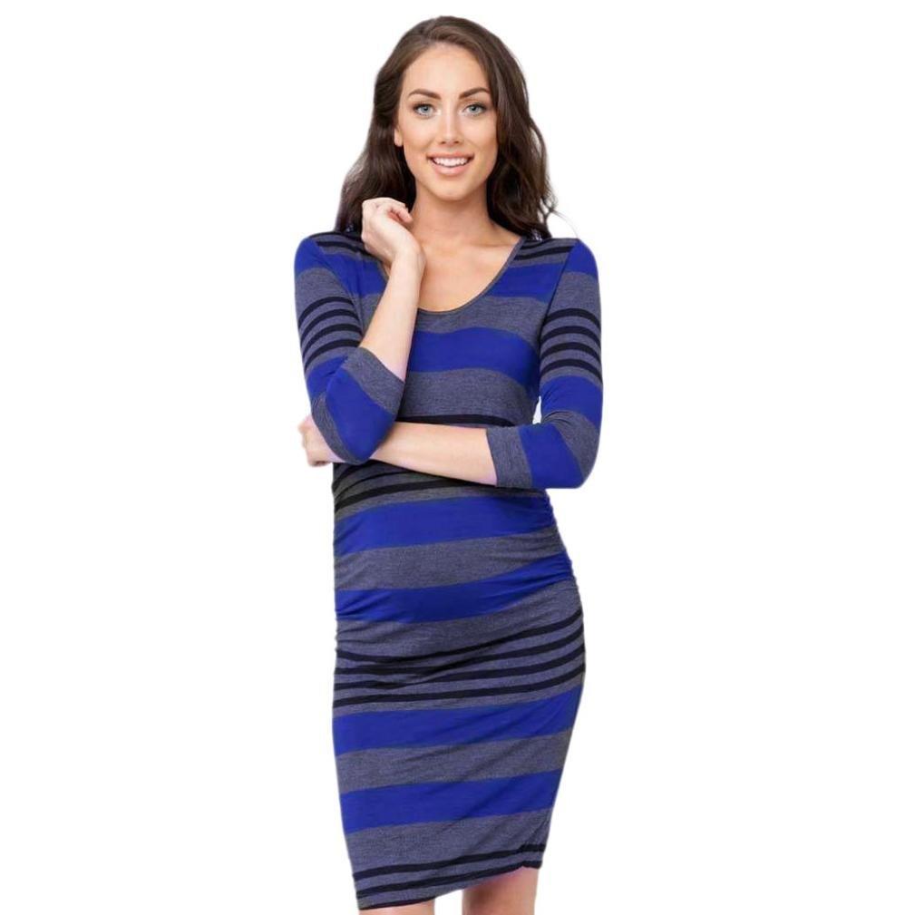 Ankolaマタニティドレスレディースストライプ長袖妊娠授乳赤ちゃんマタニティドレスボディコンMamaドレス M ブルー B07G1WJ7QV  ブルー Medium