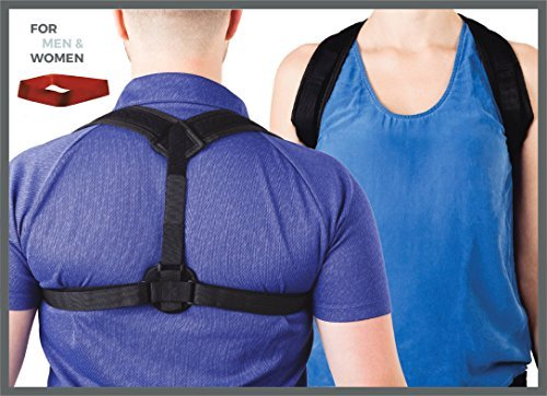 Posture Corrector for Women & Men - Adjustable back brace for upper and lower back correction - Posture, lumbar, clavicle and shoulder support in a natural way - Exercise resistance band included by Erasmios Health