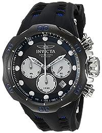 Invicta Men's 'Venom' Quartz Stainless Steel and Silicone Casual Watch, Black (Model: 22350)