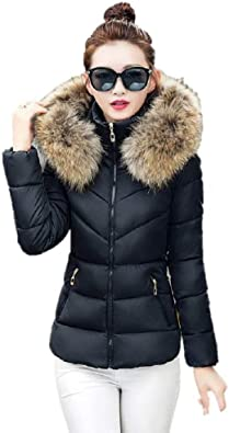 Womens Maxi Down Thicken Warm Coat with Faux Fur Hood Trim Slim Fit Jacket Puffer Parka