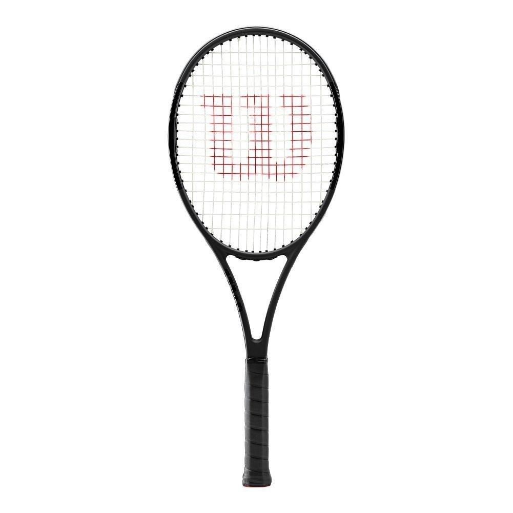 Wilson Pro Staff 97l Countervail (CV) ブラックテニスラケットStrung withカスタムラケット文字列色 B0777SKVST 4-inch Silver String Silver String 4-inch