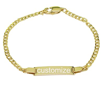 b03fd66b4b242 ProLuckis Personalized Gold Baby Bracelet Engraved Name Baby ID Protection  Bracelets Adjustable