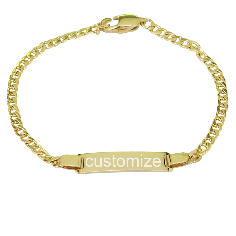 ProLuckis Personalized Gold Baby Bracelet 4'' Engraved Name Baby ID Protection Bracelets