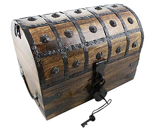 Pirate Treasure Chest With Iron Lock Skeleton Key Large 14 x 9 x 8 Decorative Box by Well Pack ()