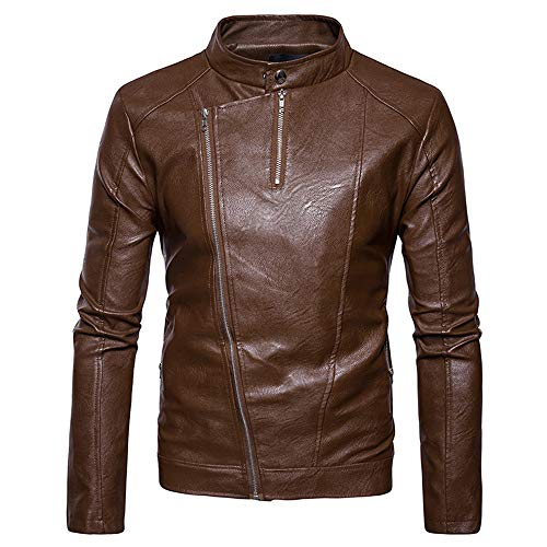 Tomatoa Men Leather Coat,Men's Fashion Jacket Slanted Zipper Zipper Stand Collar Imitation Leather Coat Casual Wild Coat Khaki