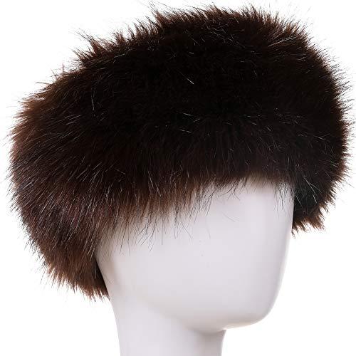 Dikoaina Womens Faux Fur Headband Winter Earwarmer Earmuff Hat Ski (Brown)