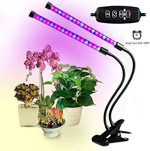 Led Grow Lights for Indoor Plants, Dual Head Plant Lights for Indoor Plants with Auto Turn on Off, 38 LEDs Full Spectrum Indoor Plant Light,3 Dimmable Modes 3 9 12H Clip for Plants Seedling-Black