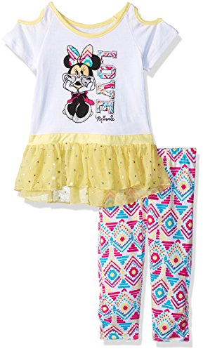 Disney Girls' Toddler Minnie 2 Piece Legging Set, Limelight, 3t