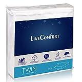 LiveComfort Mattress Protectors, Twin Waterproof Mattress Protector, Vinyl-Free Hypoallergenic Mattress Protector with Dust Mite Protection (80% Cotton and 20% Polyester Fiber)