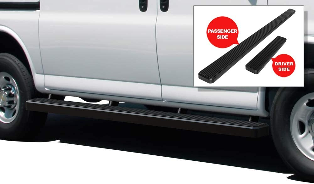 Running Boards Nerf Bars Side Steps Step Rails Compatible with 2003-2020 Chevy Express GMC Savana 1500 2500 3500 Full Size Van APS iBoard Black Powder Coated 6 inches