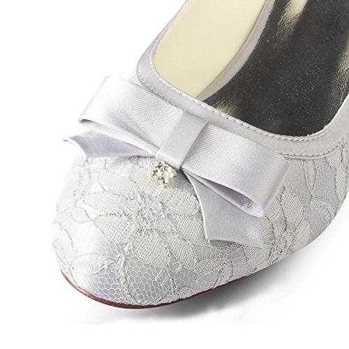 Bridesmaid Women's Bow Banquet Shoes Sandals Stiletto Sole 4U® Round Shoes Rhinestone Low Summer Spring Heels KUKIE Rubber Best 4CM Bride Evening Lace Wedding toe 6qwppC