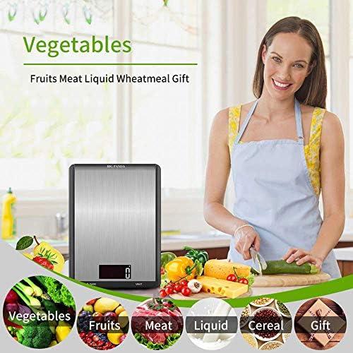 LZCR Elektronische Waage Digitale Küchen-Lebensmittelwaage 10 Kg, Präzisions-Lebensmittelwaage LCD-Display Touchscreen Mit Gehärteter Glasoberfläche