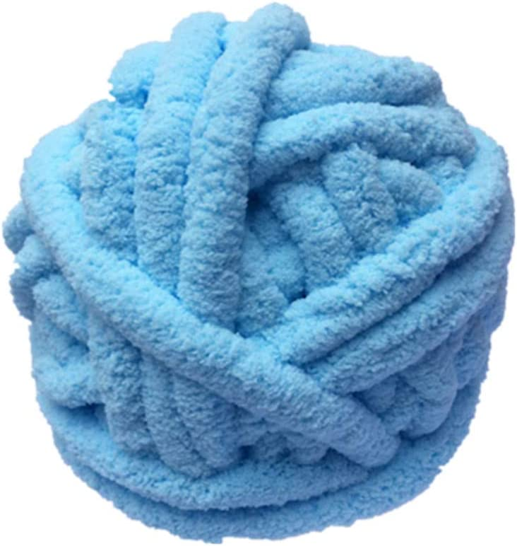 Chunky Chenille Yarn, 100% Polyester, Vegan, Super Chunky Yarn, Jumbo Yarn,Knitting Materials,for Extreme arm Knitting, Chunky Knit Yarn, Luxury Chenille Yarn, Chunky Blanket Yarn (Blue, 16 OZ)