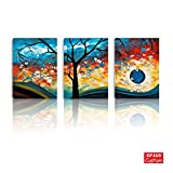 BPAGO Abstract Paintings 3 Panels Framed Colorful Tree Modern Abstract Paintings on Giclee Wall Art for Living Home (36x16inch)