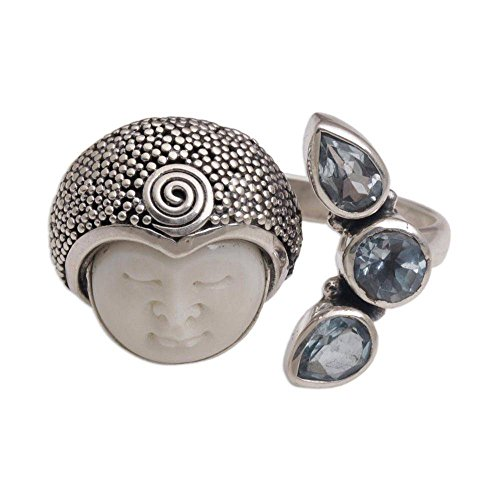 NOVICA Blue Topaz .925 Sterling Silver Cow Bone Cocktail Ring, Knight's Tale'