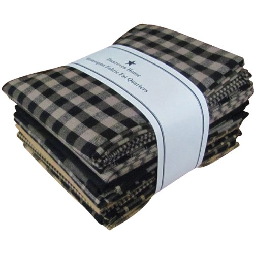 Black Fat Quarter - Dunroven House Homespun 12-Piece Fat Quarters, 18 by 21-Inch, Black