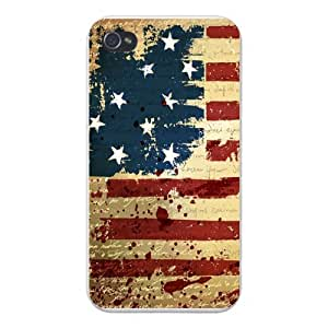 Apple Iphone Custom Case 5 / 5s White Plastic Snap on - USA United States of America Flag Stars & Stripes w/ Constitution Etched in Background