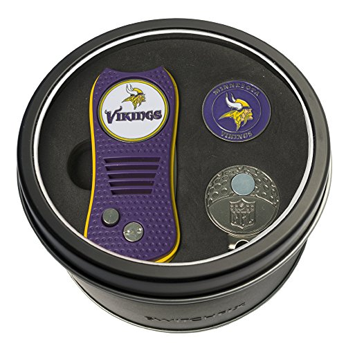 Cap Vikings Minnesota Set - Team Golf NFL Minnesota Vikings Gift Set Switchblade Divot Tool, Cap Clip, & 2 Double-Sided Enamel Ball Markers, Patented Design, Less Damage to Greens, Switchblade Mechanism