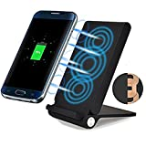 3 Coil Qi Wireless Charger, Foldable Inductive Phone Charger Station Powermat for Samsung Galaxy S8 / S7 / S7 Edge / S6 / S6 Edge / Note 5, Nokia Lumia, Google Nexus, LG and all Qi-enabled Devices, Black