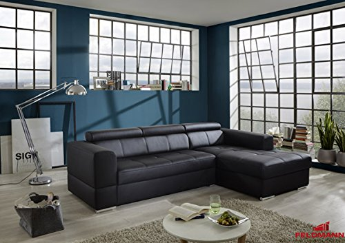 Ecksofa Polsterecke 61016 Sofa schwarz Kunstleder Ausrichtung und Ausstattung wählbar (Ausrichtung: Recamiere rechts / Ausstattung: mit Schlaffunktion)
