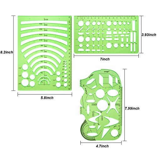 Petift 6 Pieces Geometric Drawings Templates,Plastic Measuring Templates,Measuring Templates Building Formwork Stencils Geometric Drawing Rulers for Office,School,Designing and Building,Clear Green
