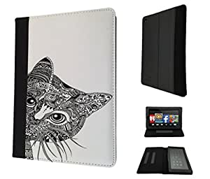 554 - Cool Aztec Cat Cute Funky Design Amazon Kindle Fire Hd 7'' 5TH Generation (2015 Release Only) Fashion Trend TPU Leather Flip Case Protective Purse Pouch Book Style Defender Stand Cover