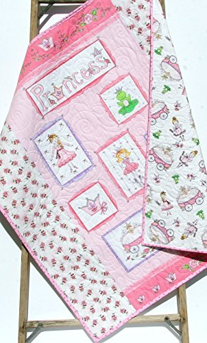 Princess Baby Quilt Handmade Girl Blanket Carriage Crown Frog Pink Purple Silver Metallic Crib Bedding Nursery Décor Infant Child Bedding