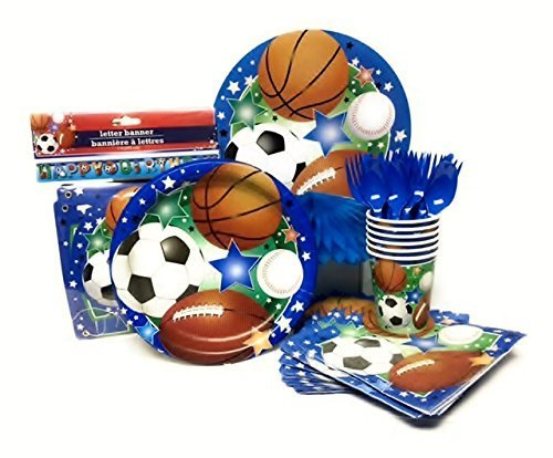 Party Kit for 32, Sports Theme: Plates, Napkins, Table Cover, Cups, Cutlery, Decorations