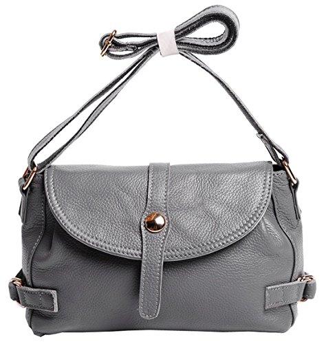 Motorcycle Handbag Style Retro Bag Hotwt Shoulder Grey Leather Soft Women��s Cross Genuine Body wfwq1BA