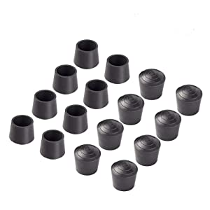 Cedmon 1 inch Table Chair Rubber Leg Tips Caps, Pack of 16, Black