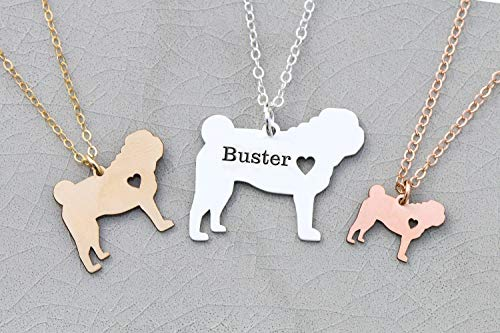 - Pug Necklace Dog Jewelry - Custom Pet - IBD - Personalize with Name or Date - Choose Chain Length - Pendant Size Options - 935 Sterling Silver 14K Rose Gold Filled Charm - Ships in 1 Business Day