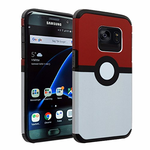 Samsung Galaxy S7 Case, DURARMOR® [ Lifetime Warranty] S7 Gameboy Poke Ball Style Pokemon Go Dual Layer Hybrid ShockProof Ultra Slim Fit Armor Bumper Air Cushion Defender Drop Protection Case Cover