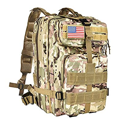 CVLIFE Outdoor Tactical Backpack Military Rucksacks for Camping Hiking Water Resistant Camouflage Medium Packs 40L(Multicam CP)