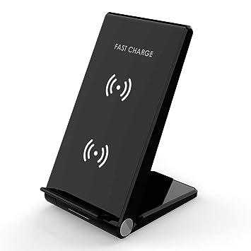 Desconocido i! 15 W Soporte inalámbrico rápido Cargador QI inducción Compatible con iPhone XS MAX/XS/XR/X/8 Samsung S8 S8+ S9 S9+ S10 S10+, etc.