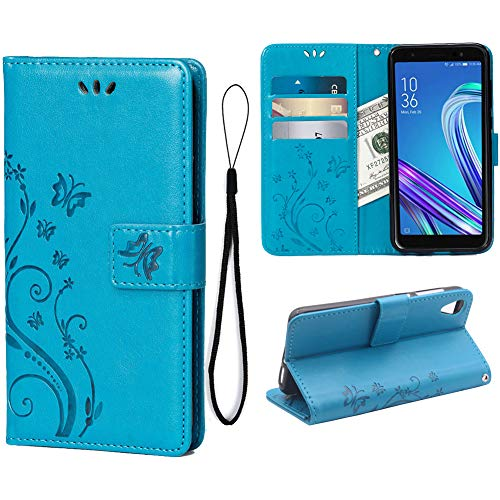 Teebo Wallet Case for Asus ZenFone Live (L1) ZA550KL, 3 Card Holder Embossed Butterfly Flower PU Leather Magnetic Flip Cover for Asus ZenFone Live (L1) ZA550KL(Blue)