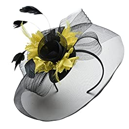 Black Feather Flower Fascinator Hat Veil Net Headband Clip Ascot Derby Races Wedding