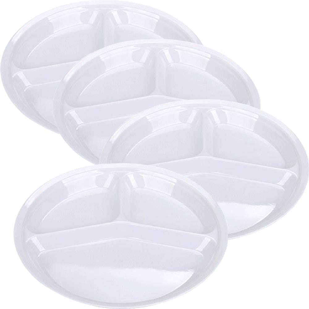AIYoo Reusable Dinner Plates, 4 Pack BPA Free 10.25'' Plastic Divided Plates for Adults / Kids Camping Plate with 3-Compartment White Dinner Plates with Dividers Dishwasher Safe