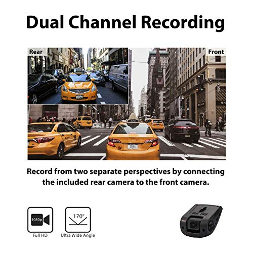 Rexing V1P 2.4'' LCD FHD 1080p 170 Degree Wide Angle Dual Channel Dashboard Camera Recorder Car Dash Cam with Rear Camera, G-Sensor, WDR, Loop Recording by REXING (Image #2)