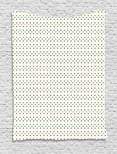 (Ambesonne Abstract Tapestry, Continuing Print of Mini Squares Drawn by Hand, Wall Hanging for Bedroom Living Room Dorm, 40 W X 60 L Inches, Dark Eggshell Laurel Green Cream and White )