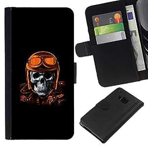 All Phone Most Case / Oferta Especial Cáscara Funda de cuero Monedero Cubierta de proteccion Caso / Wallet Case for HTC One M9 // Golden Brown Racing Biker Pilot Skull