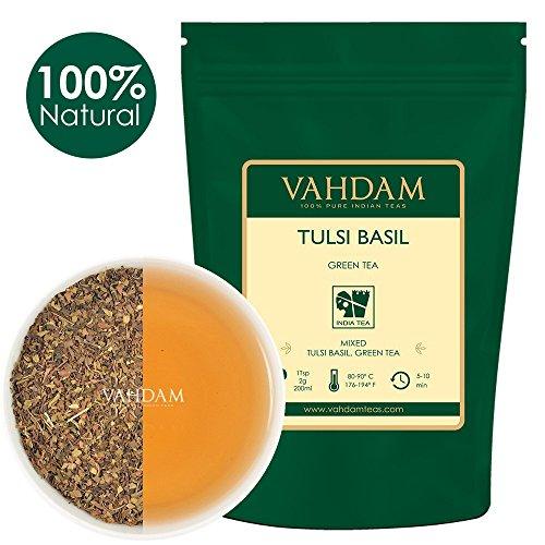 VAHDAM, Tulsi Basil Green Tea Loose Leaf (50 Cups) | Holy Basil Tea | Blend Of Pure Green Tea Leaves & Fresh Basil Leaves | Tulsi Tea | POWERFUL ANTI-OXIDANTS | Brew as Hot Tea or Iced Tea | 3.53oz by VAHDAM