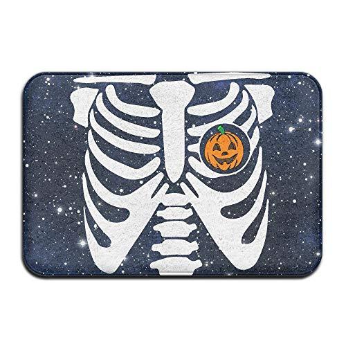 Youbah-01 Indoor/Outdoor Doormat with Halloween Pumpkin Skeleton (2) Printed for Hallway Bathroom]()