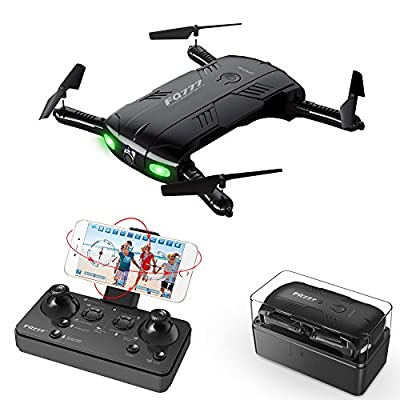 RC Quadcopter Drone with 2.0MP Camera Live Video Foldable Arms Pocket Mini Drone for Beginners 2.4G 6-Axis Headless Mode RTF Helicopter from Kidcia