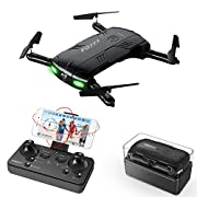 #LightningDeal 93% claimed: RC Quadcopter Drone with 2.0MP Camera Live Video Foldable Arms Pocket Mini Drone for Beginners 2.4G 6-Axis Headless Mode RTF Helicopter