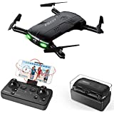 RC Quadcopter Drone with 2 Batteries 2.0MP Camera Live Video Foldable Arms Pocket Mini Drone for Beginners 2.4G 6-Axis Headless Mode RTF Helicopter