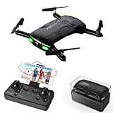 RC Quadcopter Drone with 2.0MP Camera Live Video Foldable Arms Pocket Mini Drone for Beginners 2.4G 6-Axis Headless Mode RTF Helicopter