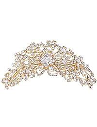 Ever Faith 6.3 inch Bridal Flower Cluster Austrian Crystal Clear Hair Comb Pin
